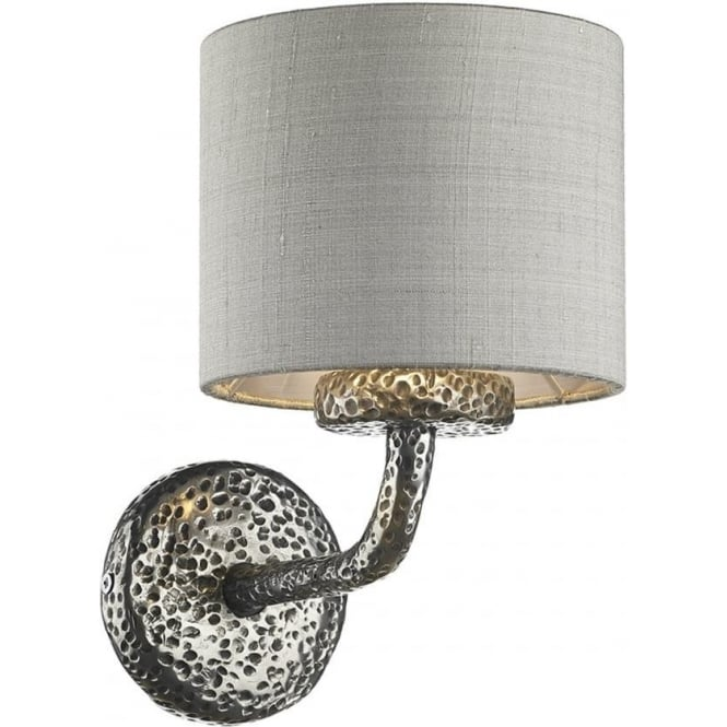 David Hunt Lighting Sloane Single Light Wall Lamp in Pewter Finish with Silver Grey Silk Shade