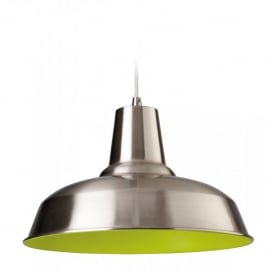 Smart Single Light Ceiling Pendant in Brushed Steel with a Green Interior