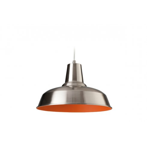 Firstlight smart single light ceiling pendant in brushed steel with an orange interior - Interior smart lighting ...