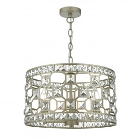 Soire 3 Light Ceiling Pendant in Soft Gold Finish with Faceted Crystals
