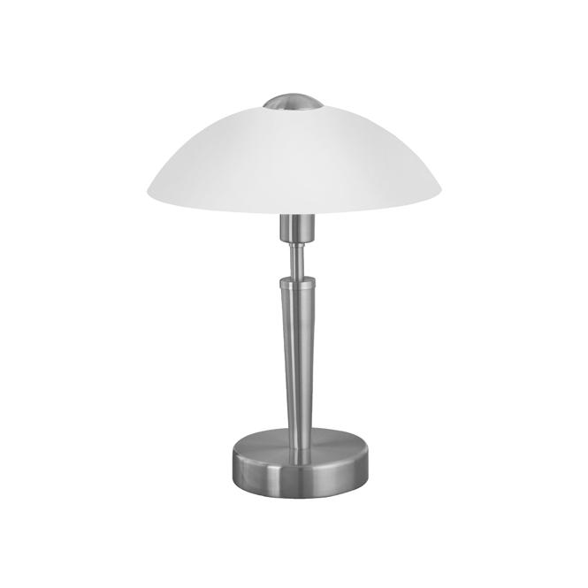 Eglo Lighting Solo Matt Nickel Touch Lamp With White Glass Shade
