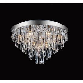 Sophia 10 Light Semi Flush Ceiling Fitting In Polished Chrome And Crystal Finish