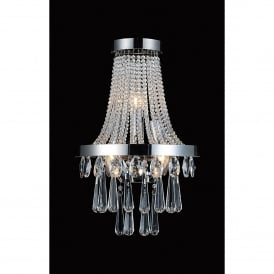 Sophia 3 Light Wall Fitting In Polished Chrome And Crystal Finish