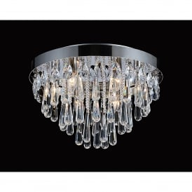 Sophia 8 Light Semi Flush Ceiling Fitting In Polished Chrome And Crystal Finish