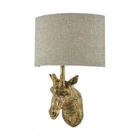 Sophie Single Light Wall Fitting in Gold Effect Finish Complete with Natural Linen Shade