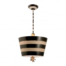 South Beach Single Light Ceiling Pendant in Black & Cream Finish