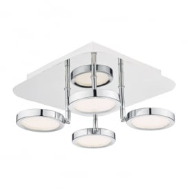 Sparta 4 LED Flush Ceiling Light in Polished Chrome Finish