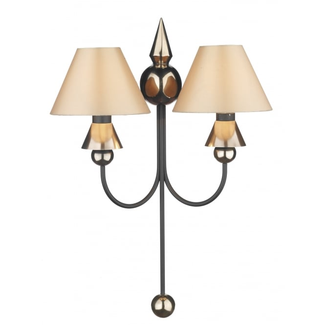 David Hunt Lighting Spearhead Double Wall Fitting In Black And Bronze Finish