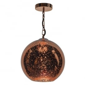 Speckle Single Light Ceiling Pendant in Copper Finish and Glass