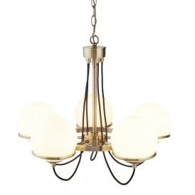 Sphere 5 Light Ceiling Pendant In Antique Brass Finish With White Glass Shade