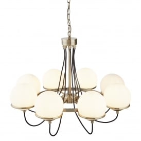 Sphere 8 Light Ceiling Pendant In Antique Brass Finish With White Glass Shade