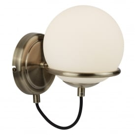Sphere Single Light Wall Fitting In Antique Brass Finish With White Glass Shade