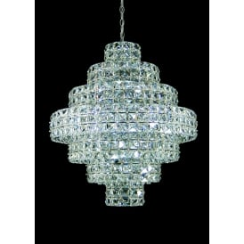 Square 11 Light Ceiling Pendant In Polished Chrome And Clear Crystal Finish