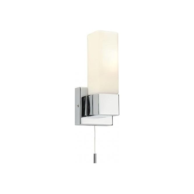 Endon Lighting Square Single Light Switched Bathroom Wall Fitting In Polished Chrome Finish