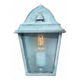 St James Single Light Solid Brass Outdoor Wall Lantern in Verdigris