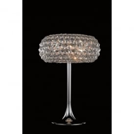 Star 3 Light Table Lamp In Polished Chrome And Clear Crystal Finish