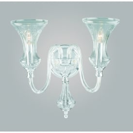 Stara 2 Light Wall Fitting In Clear Crystal Glass Finish