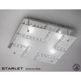 Starlet 4 Light Crystal and Frosted Glass Ceiling Fitting in Polished Chrome