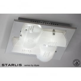 Starlis 4 Light Polished Chrome and Frosted Glass Flush Ceiling Fitting