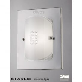 Starlis Single Light Polished Chrome and Frosted Glass Wall Fitting