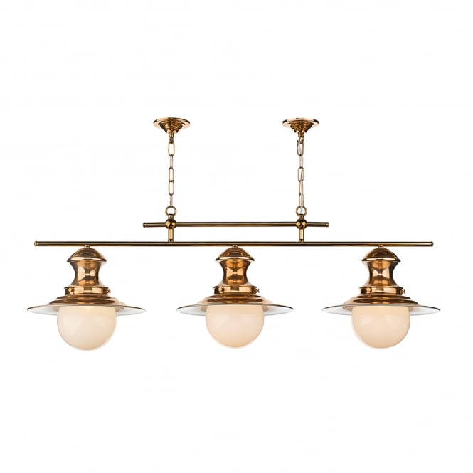David Hunt Lighting Station 3 Light Ceiling Fitting in Copper Finish