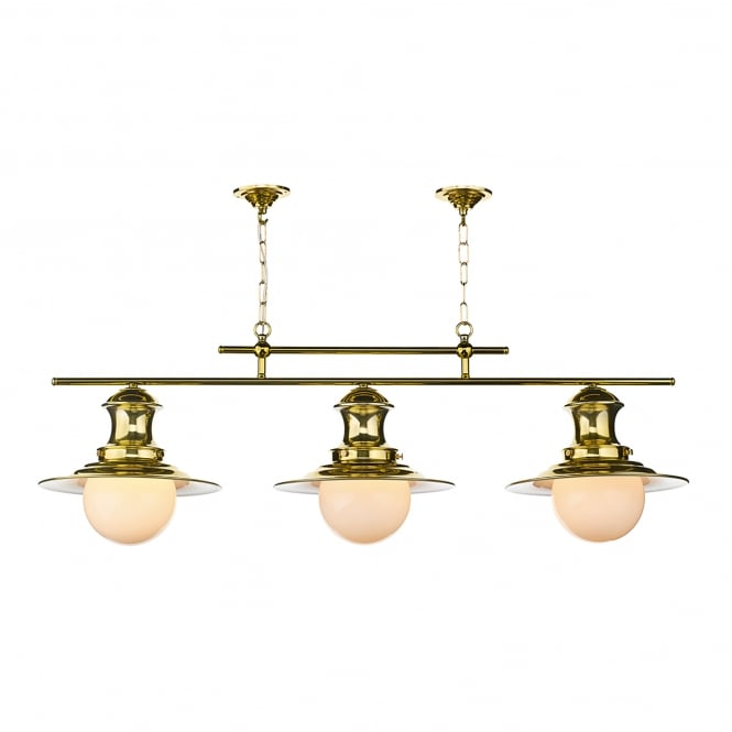 David Hunt Lighting Station 3 Light Ceiling Fitting in Polished Brass Finish