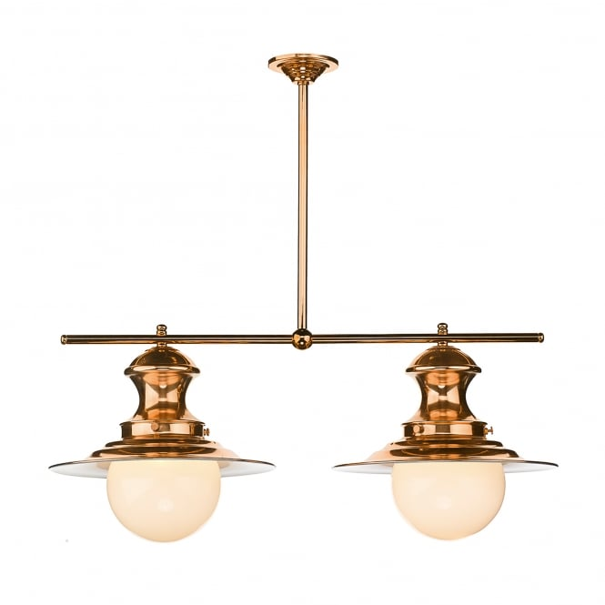 David Hunt Lighting Station Lamp 2 Light Ceiling Fitting In Copper Finish With Opal Glass Shades