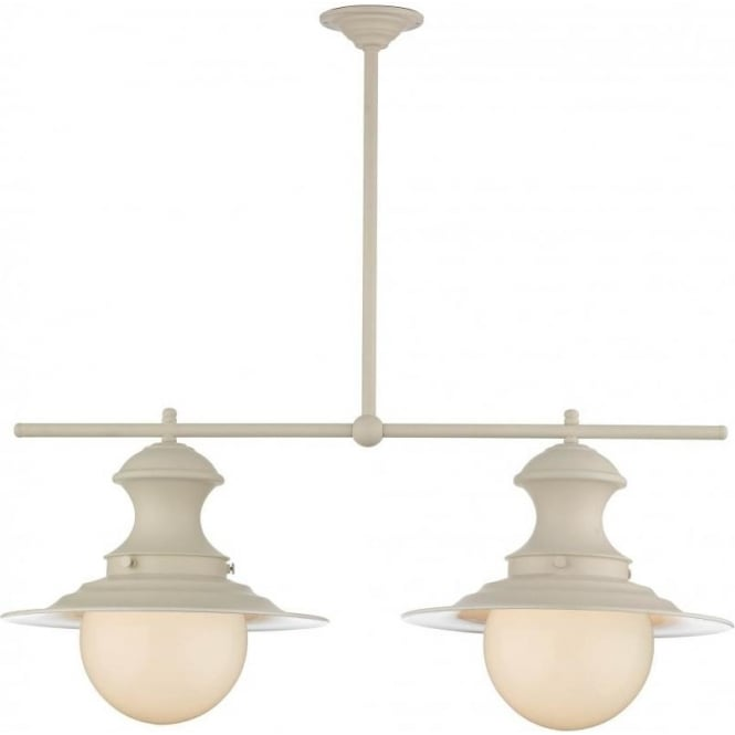 David Hunt Lighting Station Lamp 2 Light Ceiling Fitting In Cream Finish With Opal Glass Globes