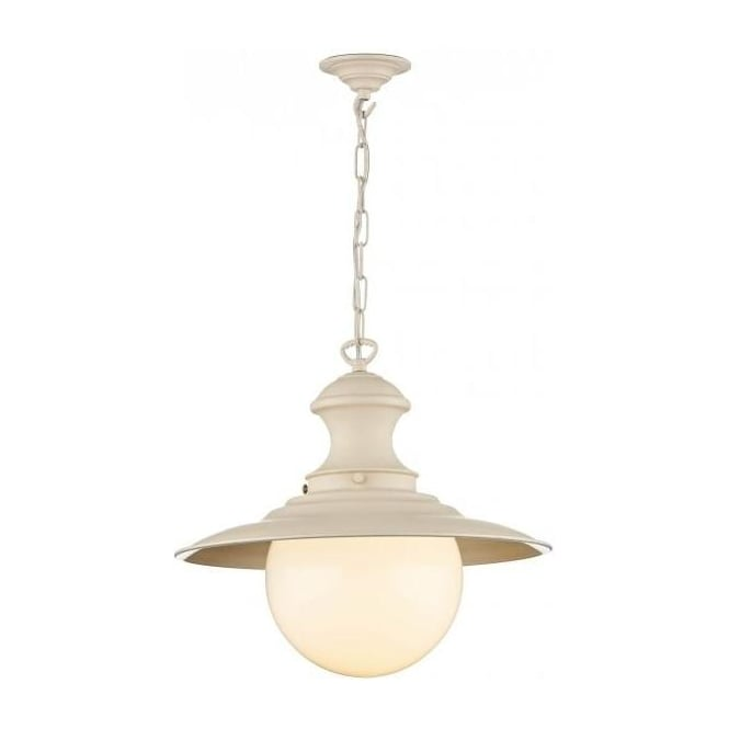 David Hunt Lighting Station Lamp Single Light Pendant in Cotswold Cream Finish- Limited Edition