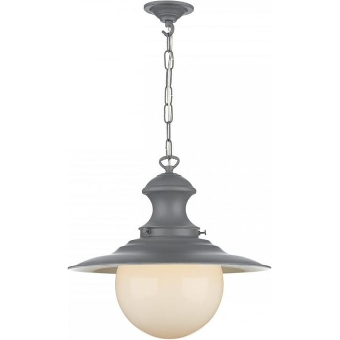 David Hunt Lighting Station Lamp Single Light Pendant In Lead Grey Finish With White Globe Shade