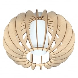 Stellato 1 Single Light Semi Flush Ceiling Fitting In Maple Wood And White Finish