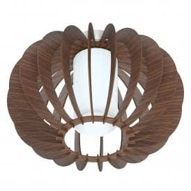 Stellato 3 Single Light Semi Flush Ceiling Fitting In Brown Wood And White Finish