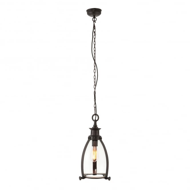 Endon Lighting Storni 210mm Single Light Ceiling Pendant in Aged Bronze Finish with Clear Glass