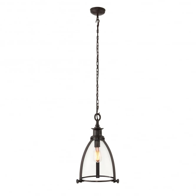 Endon Lighting Storni 285mm Single Light Ceiling Pendant in Aged Bronze Finish with Clear Glass