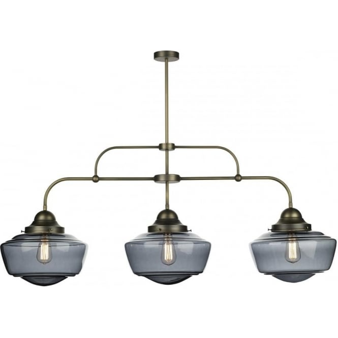 David Hunt Lighting Stowe 3 Light Ceiling Pendant in Solid Antique Brass Finish with Handblown Smoked Glass