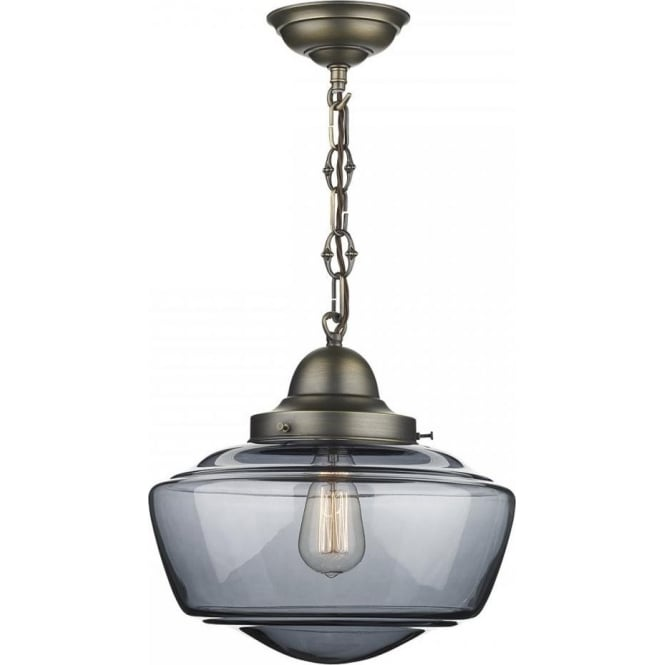 David Hunt Lighting Stowe Single Light Ceiling Pendant In Antique Brass Finish Smoked Glass Shade