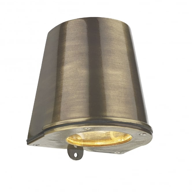 David Hunt Lighting Strait Single LED Outdoor Wall Fitting Made From Solid Brass in Antique Brass Finish