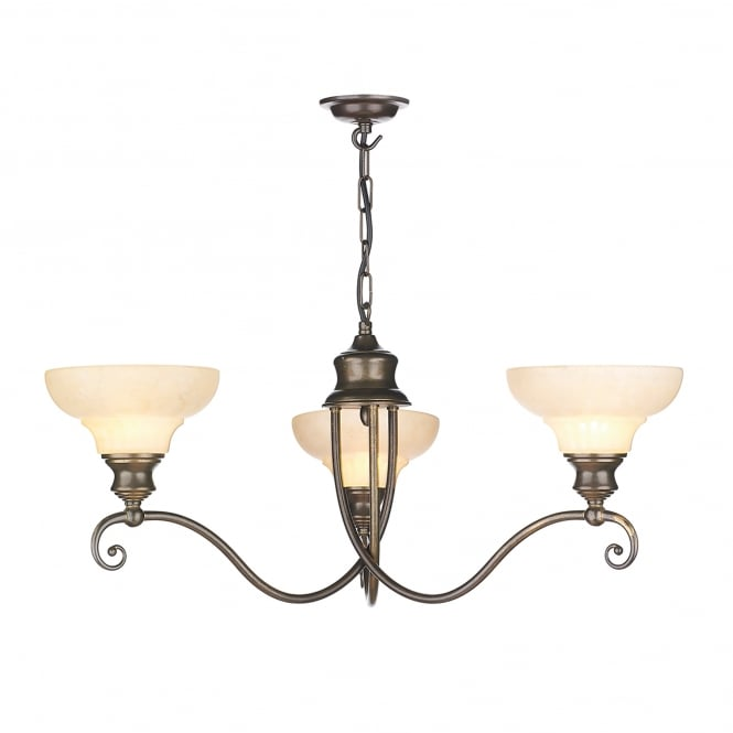 David Hunt Lighting Stratford 3 Light Ceiling Fitting In Aged Brass With Marble Effect Glass Shades