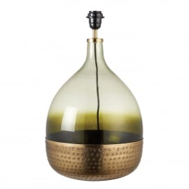 Sultan Single Light Table Lamp Base Only in Tinted Green Glass and Satin Brass Finish