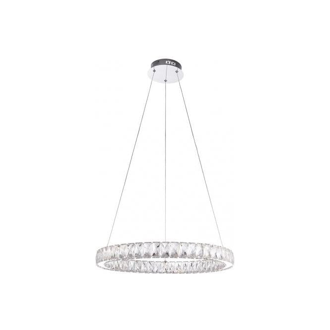 Endon Lighting Swayze LED Ceiling Pendant In Polished Chrome Finish With Clear Faceted Beads