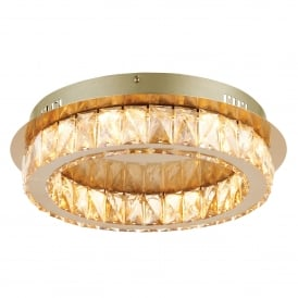 Swayze LED Flush Ceiling Fitting In Brushed Brass Finish With Champagne Faceted Beads