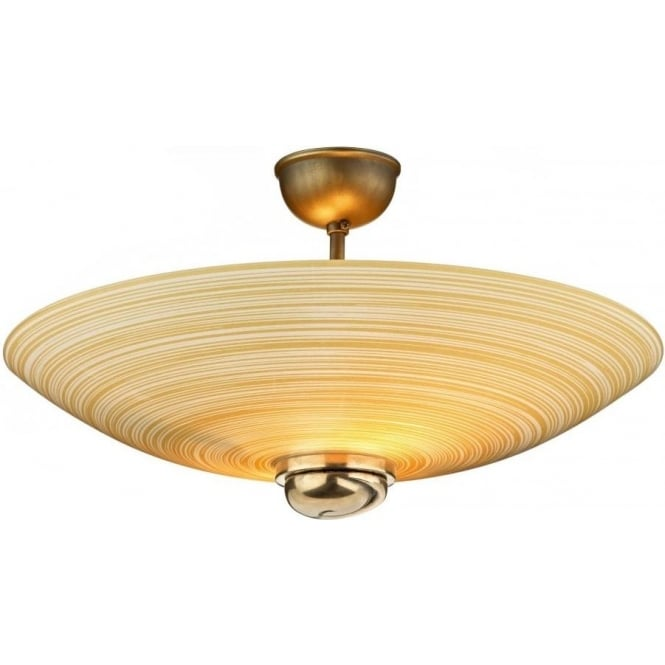 David Hunt Lighting Swirl 2 Light Amber Semi Flush Ceiling Fitting in Bronze Finish