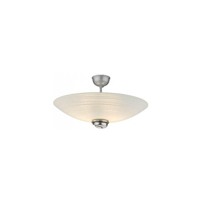 David Hunt Lighting Swirl 2 Light Semi-Flush Ceiling Fitting With White Glass And Pewter Detail