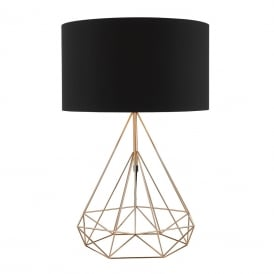 Sword Single Light Table Lamp With A Copper Finish Base And Black Cotton Shade