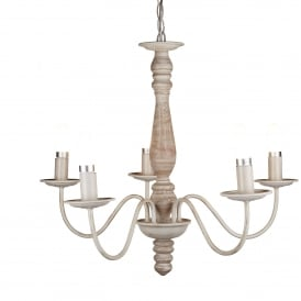 Sycamore 5 Light Ceiling Fitting In Brown Washed Wood Finish