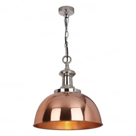 Sylvie Single Light Ceiling Pendant in Polished Nickel and Copper Finish