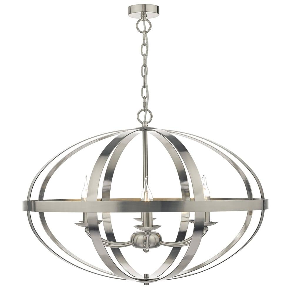Dar Lighting Symbol 6 Light Ceiling Pendant In Satin