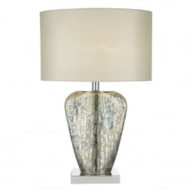 Syracuse Single Light Table Lamp in Mercury Gold Finish Complete with Cream Faux Silk Shade