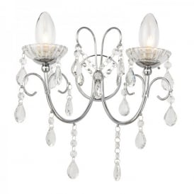 Tabitha 2 Light Bathroom Wall Fitting In Polished Chrome Finish with Crystal Glass Detail