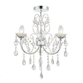 Tabitha 3 Light Semi Flush Bathroom Chandelier In Polished Chrome Finish with Crystal Glass Detail